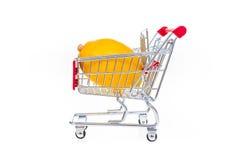 Lemon in shopping cart isolated on white background. Concept photo Stock Photos