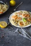 Lemon shrimp pasta on plate Royalty Free Stock Photography