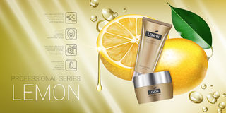 Lemon skin care series ads. Vector Illustration with lemon cream tube and container. Royalty Free Stock Photo