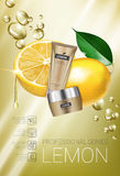 Lemon skin care series ads. Vector Illustration with lemon cream tube and container. Stock Images
