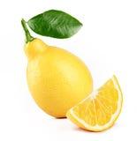 Lemon with slice. Fresh lemon with slice and leaf isolated white background royalty free stock image