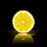 Lemon slice on black background Stock Images