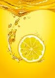 Lemon slice with bubbles Stock Photos