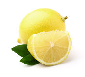 Lemon with slice. In closeup stock images
