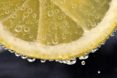 Lemon slice in glass Stock Photography