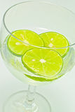 Lemon slice in glass wine with soda Royalty Free Stock Photo