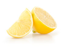 Lemon Slice and Half on White Background Stock Photos