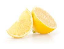 Lemon Slice and Half on White Background Stock Photos