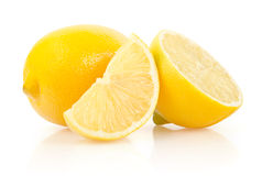 Lemon Slice and Half on White Background Royalty Free Stock Images