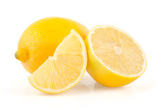 Lemon Slice and Half on White Background Stock Image