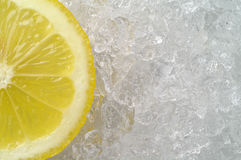 Lemon slice on ice Stock Photo