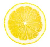 Lemon slice isolated on white background. Top view, circle shape. Clipping path included royalty free stock photo