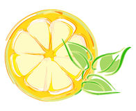 Lemon slice with leaves. artistic illustration. Isolated on white Stock Illustration