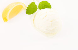 Lemon slice with lemon flavor ice cream from top Stock Photography