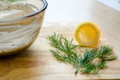 Lemon Slice Sprig of Dill royalty free stock photos
