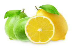 Lemon with slice and a two limes isolated on white stock photo