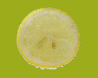 Lemon slice in water with bubbles Stock Photos