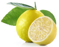 Lemon with slice on a white background Stock Image