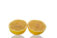 Lemon slice. On a white background royalty free stock photo