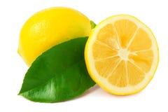 Lemon and sliced half Stock Photo