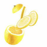 Lemon slices. On the white background Royalty Free Stock Images