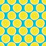 Lemon slices blue background seamless pattern Royalty Free Stock Photos