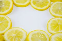 Lemon slices in a circle with copyspace Stock Images