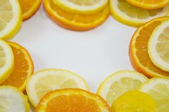 Lemon slices in a circle with copyspace Stock Photography