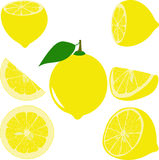 Lemon slices, collection of  illustrations Royalty Free Stock Images