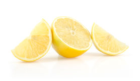 Lemon Slices and Half on White Background Royalty Free Stock Image