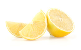 Lemon Slices and Half on White Background Royalty Free Stock Photography