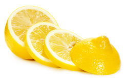 Lemon slices isolated on a white background stock photo