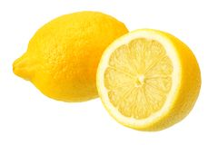Lemon with slices isolated on white background. healthy food royalty free stock photos