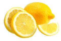 Lemon with slices isolated on white background. healthy food stock photography