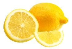 Lemon with slices isolated on white background. healthy food royalty free stock photography