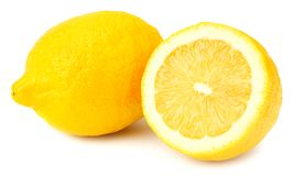 Lemon with slices isolated on white background. healthy food royalty free stock image