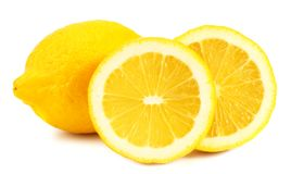 Lemon with slices isolated on white background. healthy food stock photo