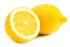 Lemon with slices isolated on white background. healthy food stock images