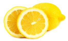 Lemon with slices isolated on white background. healthy food royalty free stock images