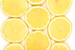 Lemon slices isolated on a white background Royalty Free Stock Photography