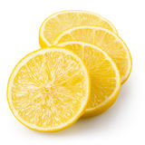 Lemon slices isolated on white. With clipping path. Lemon slices isolated on white background. With clipping path Royalty Free Stock Photography