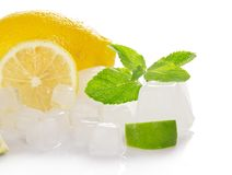 Lemon, slices of a juicy lime, mint and ice cube Stock Photo