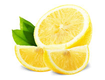Lemon slices with leaves isolated on the white background Stock Image