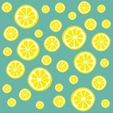 Lemon slices. On a light turquoise background Stock Photos