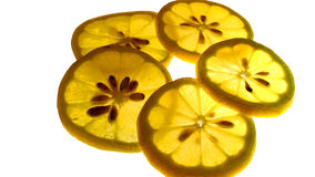 Lemon slices. Plants, agricultural production, mature fruit, orange, lemon, appear a pulp, fruit slices Stock Photo