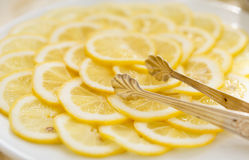 Lemon slices on plate Royalty Free Stock Images