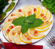 Lemon slices on plate Stock Images