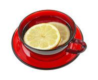 Lemon slices in red cup with water stock photos