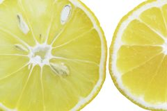 Lemon slices in the water, close-up, top view stock photography