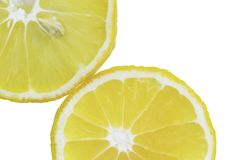 Lemon slices in the water, close-up, top view stock images
